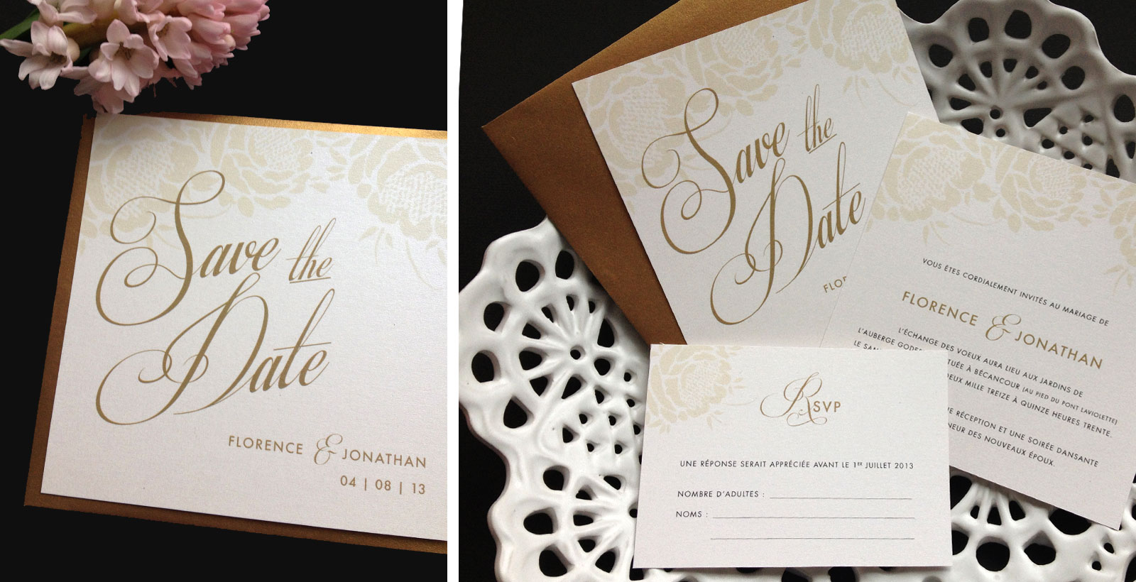 Save the Date et invitation couleur Crème & Or